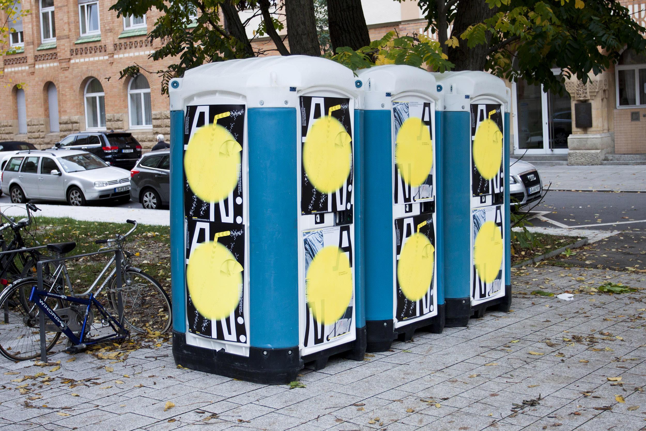 Werbemaßnahmen für den Architekturnovember 2017 in der Tübinger Straße in Stuttgart