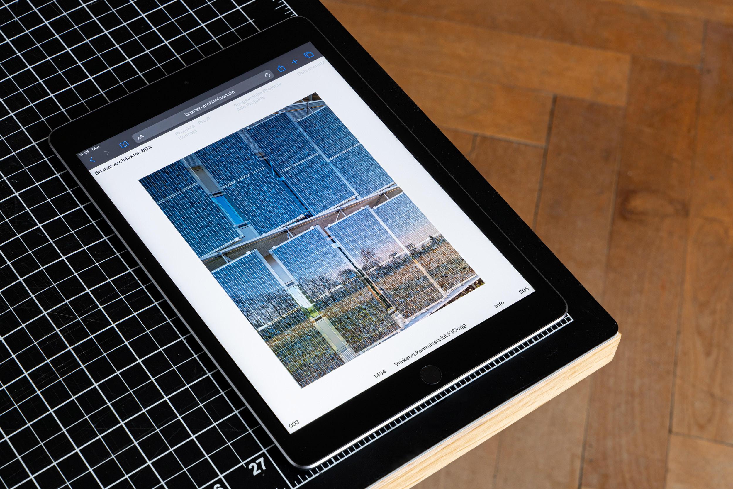 Webseite für das Architekturbüro, hier: auf dem iPad.