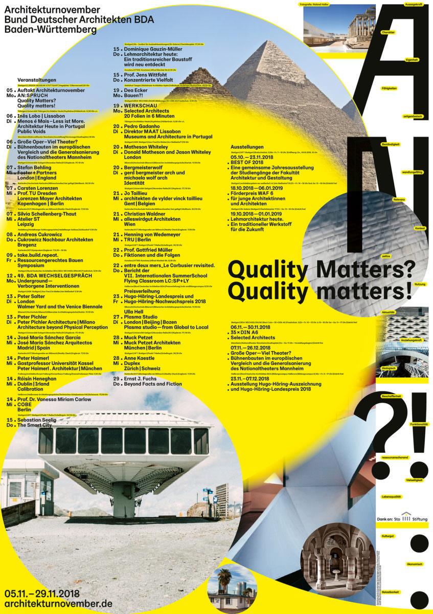 Kalender-Plakat mit allen Veranstaltungen des Architekturnovember, initiiert vom Bund Deutscher Architekten BDA.