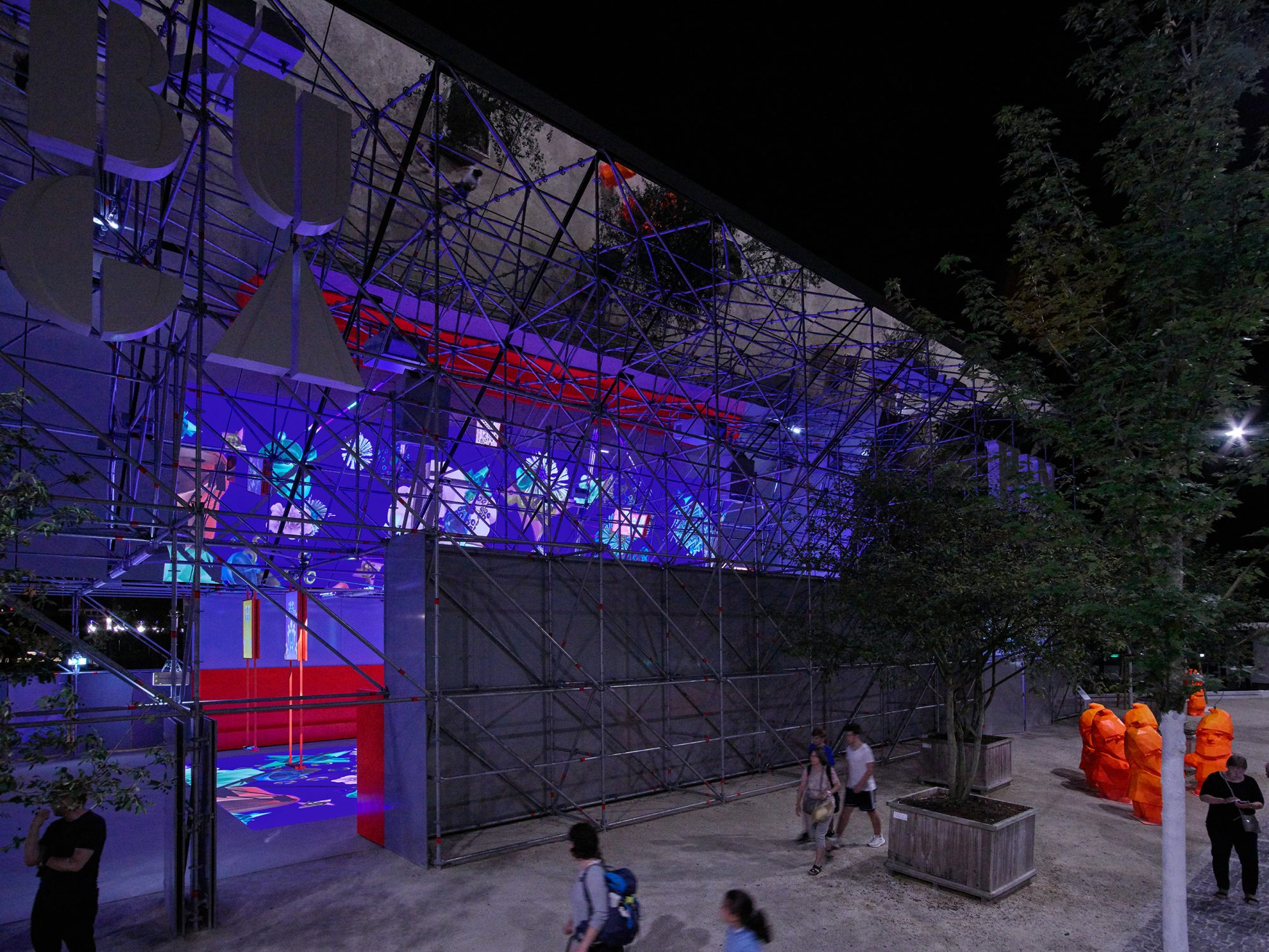 Der BUGA-Pavillon bei Nacht, Entwurf: Joos Keller.