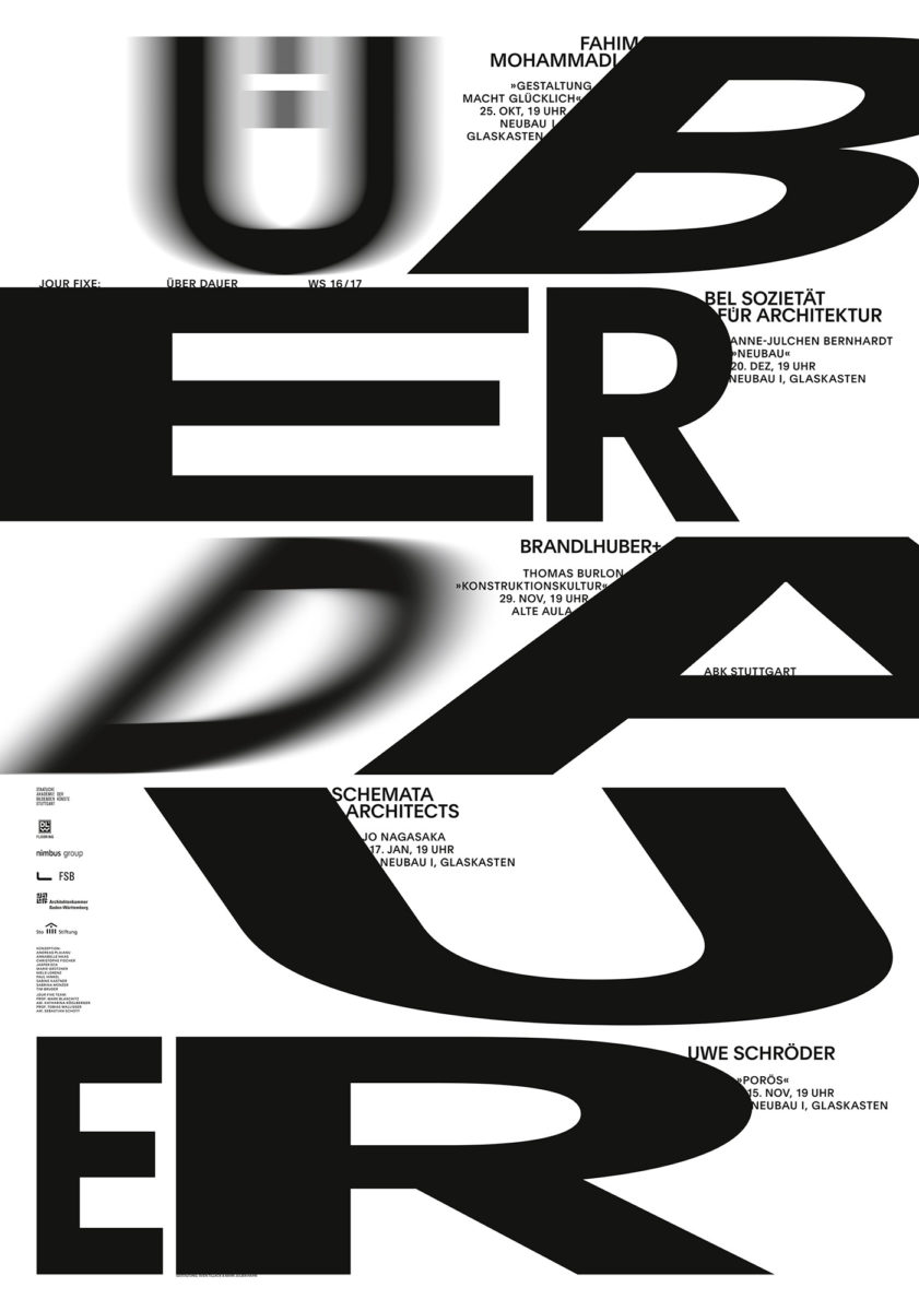 Abbildung des Plakats »Jour Fixe«, Vortragsreihe an der ABK Stuttgart, initiiert von Prof. Tobias Walliser und Prof. Mark Blaschitz.