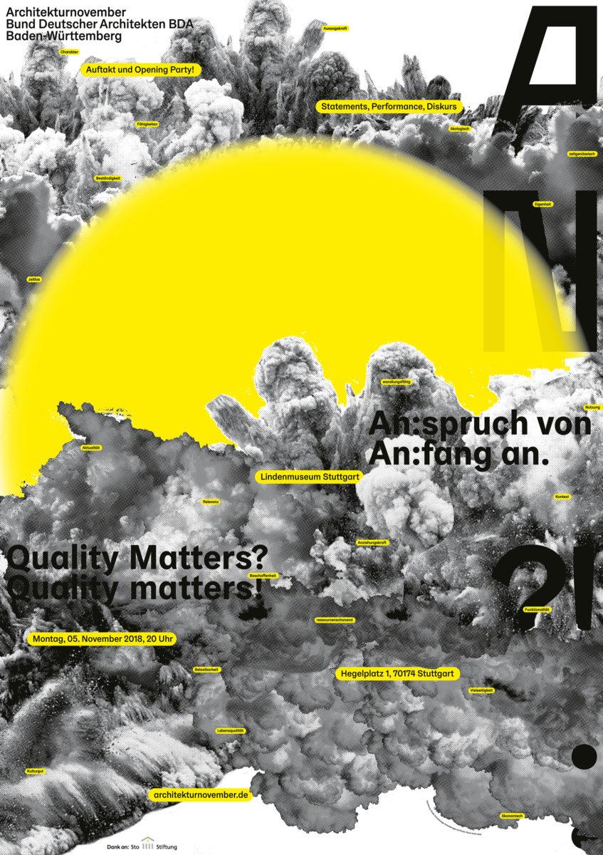 Ankündigungsplakat für die Eröffnungsveranstaltung des Architekturnovember 2018: Anspruch von Anfang an, dreifarbiger Offsetdruck