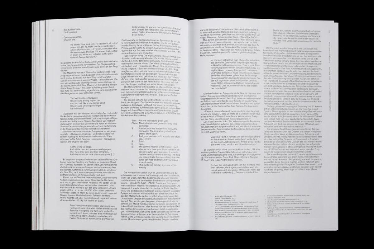 Buchgestaltung mit Doppelseite der Stuttgarter Künstlerin Ann-Kathrin Müller mit ihrem Projekt »Die Exposition«