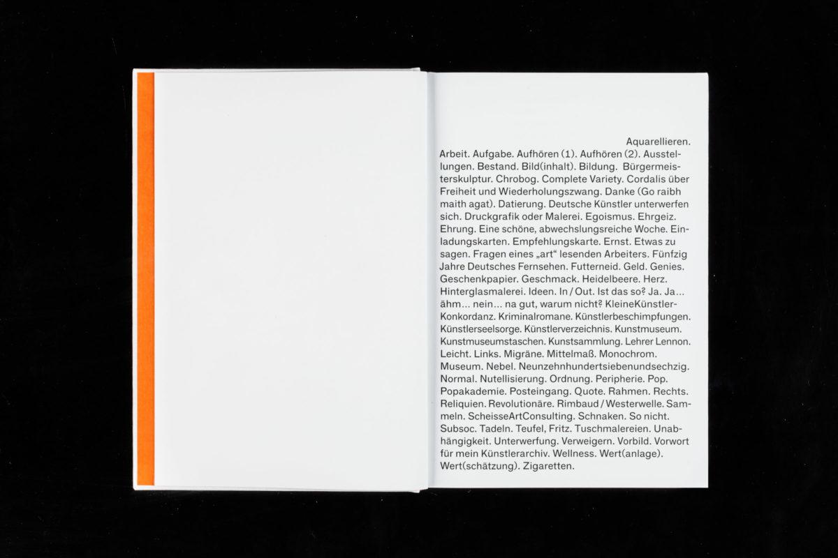Inhaltsverzeichnis der Monografie »Künstlerkonkordanz 6.0« von Reinhold Adt.