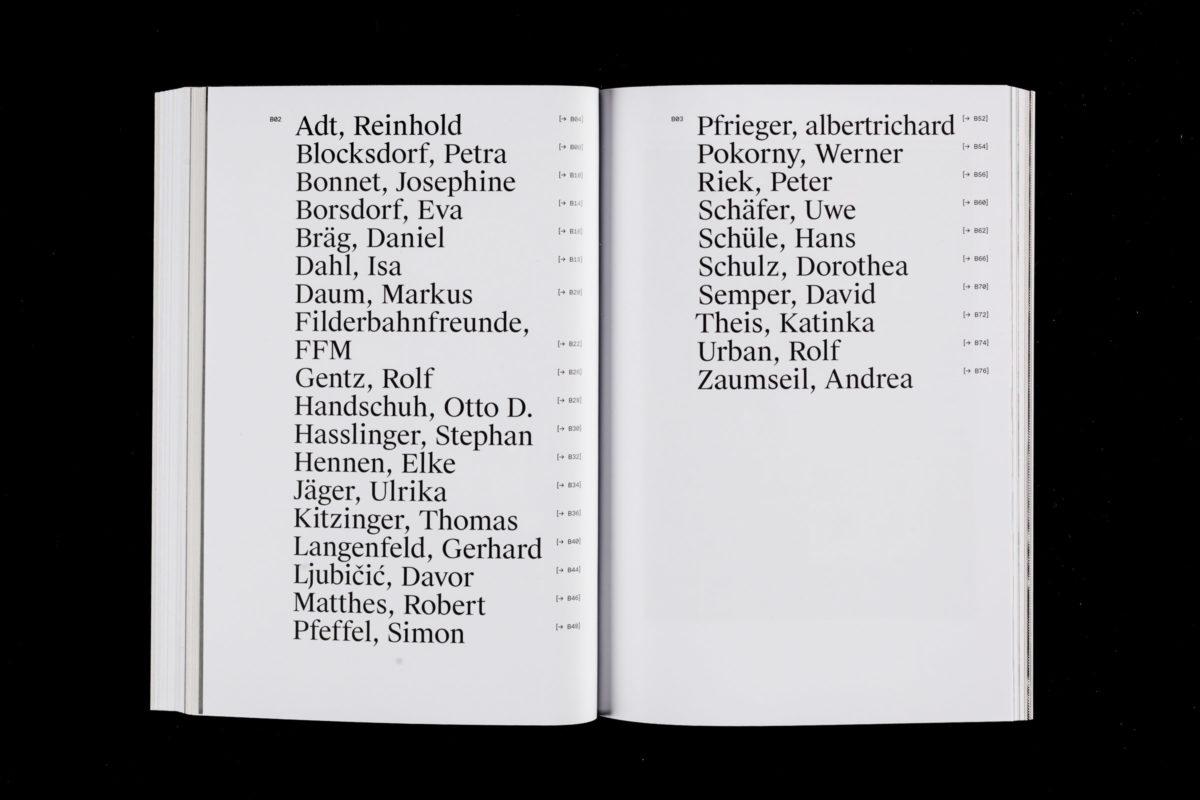 Inhaltsverzeichnis der Kataloggestaltung für die ausstellenden Künstler des Künstlerbund Baden-Württemberg während der Ausstellung »Stand Der Dinge« in Bietigheim und Singen.