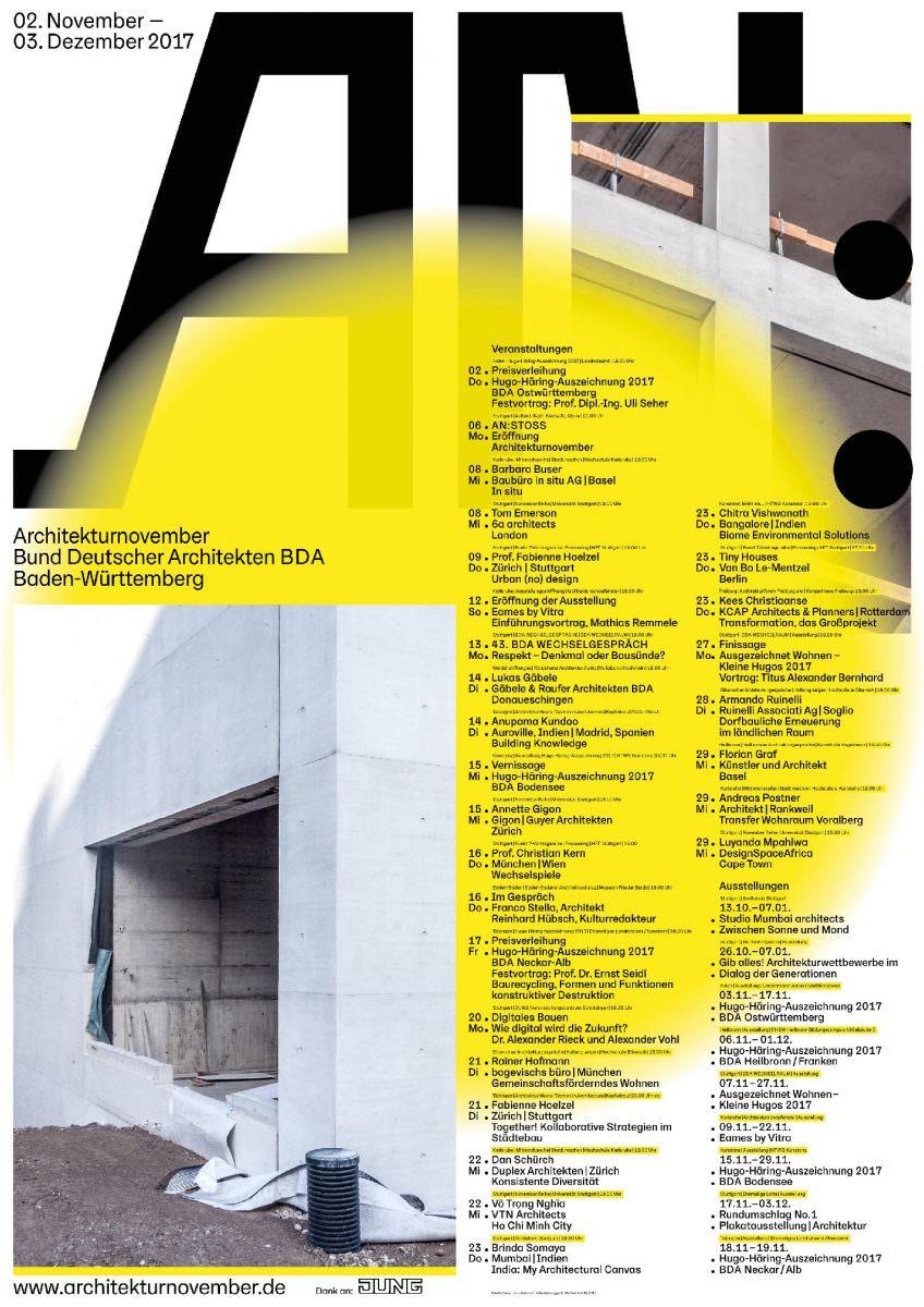 Kalenderplakat für den BDA Baden- Württemberg, das alle Veranstaltungen des Architekturnovember 2017 sammelt.
