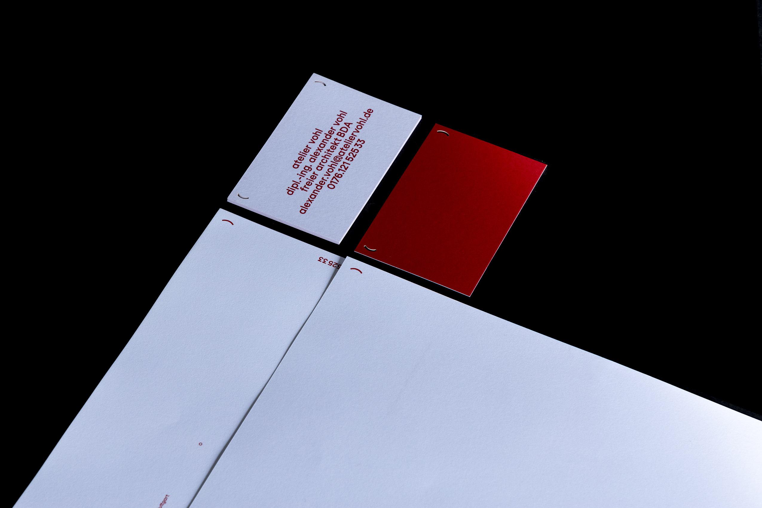 Vorder und Rückseite der Visitenkarten, von Atelier Vohl (Alexander Vohl, Freier Architekt BDA)