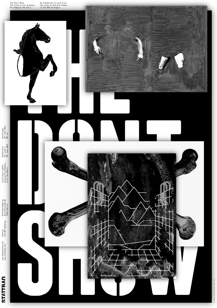 Flyer für »The Don't Show«, einer Klassenausstellung der Klasse Thomas (ABK Stuttgart) in Berlin