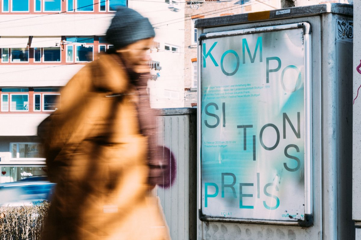 Kompositionspreis 2019/20 des Kulturamt der Stadt Stuttgart, fünffarbig gedruckte DIN A1-Plakate