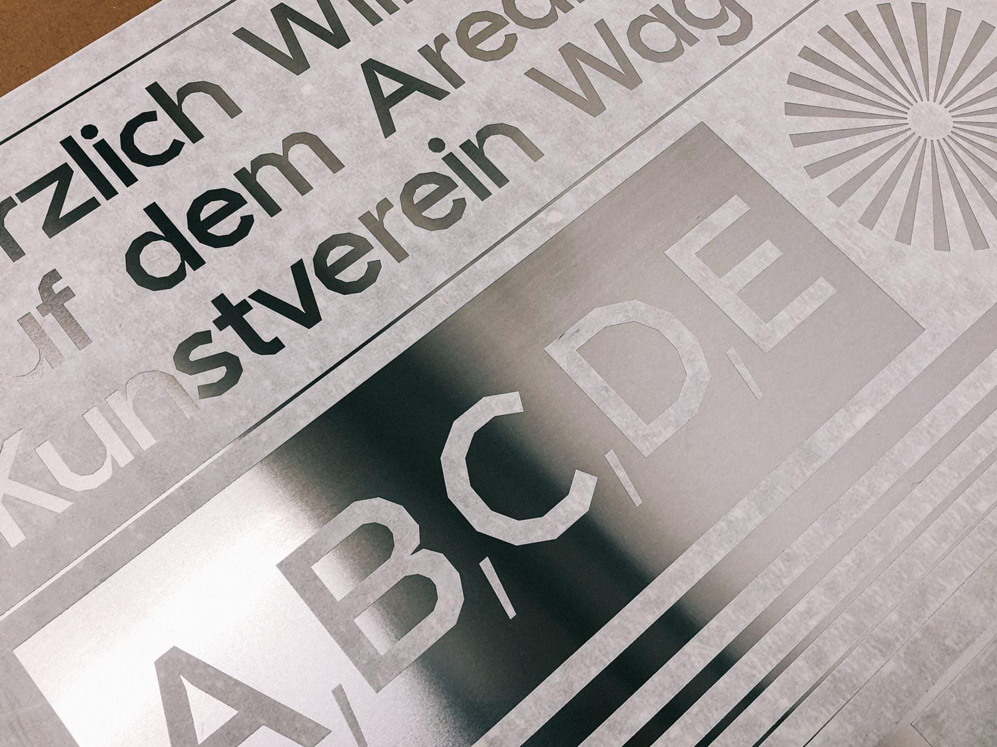 Detailaufnahme der Cultural Identity für den Kunstverein Wagenhalle: Schriftgestaltung Nordi Sans